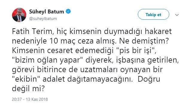 Fenerbahçe'ye FETÖ'cü diyen Süheyl Batum'a sert cevap 1