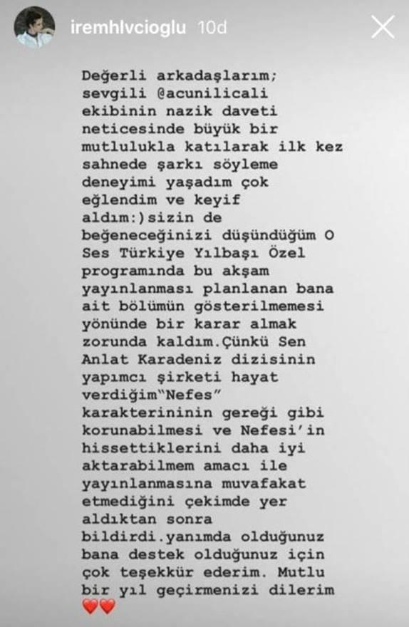 ŞOK! İrem Helvacıoğlu Sen Anlat Karadeniz dizisinden ayrılıyor mu? 1