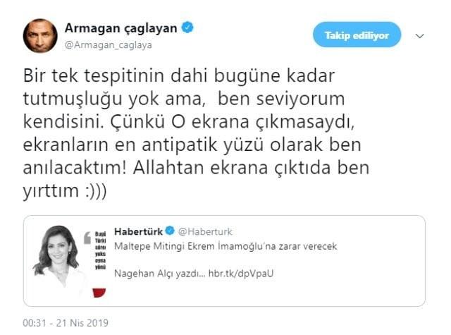"""Ekranın antipatik yüzü"" Armağan Çağlayan'dan olay Nagehan Alçı paylaşımı! 1"