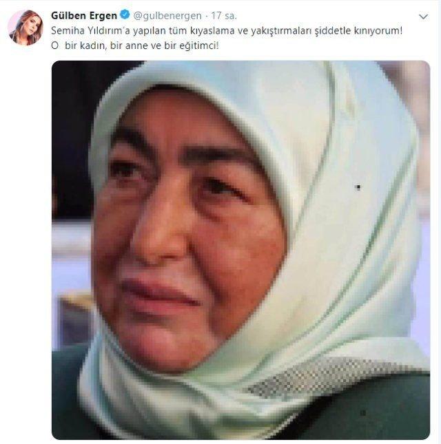 Gülben Ergen'den Binali Yıldırım'ın eşi Semiha Yıldırım'a büyük destek 1